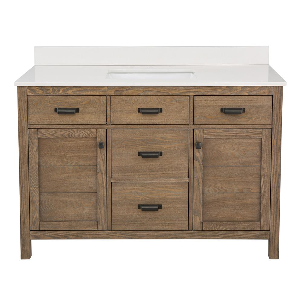 Home Decorators Collection Stanhope 49 in. W x 22 in. D Vanity in Reclaimed Oak and Engineered Stone Vanity Top in Creamed Coffee with White Basin