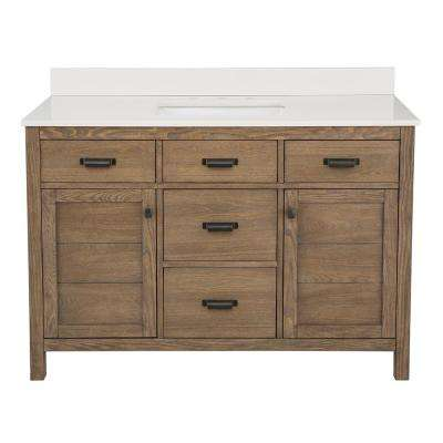 Stanhope 49 in. W x 22 in. D Vanity in Reclaimed Oak and Engineered Stone Vanity Top in Creamed Coffee with White Basin