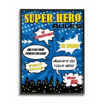 "16 in. x 20 in. ""Comic Book Bubble Super Hero Rules"" by Anna Quach Printed Framed Wall Art"