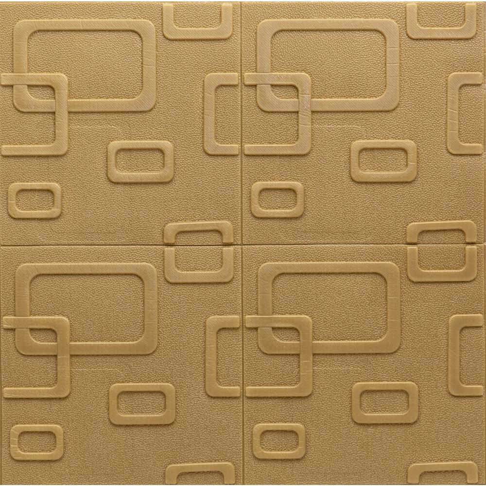 Falkirk Jura II 1/3 in. x 28 in. x 28 in. Peel & Stick Dark Gold Circular Shapes Foam Decorative Wall Paneling (10-Pack)