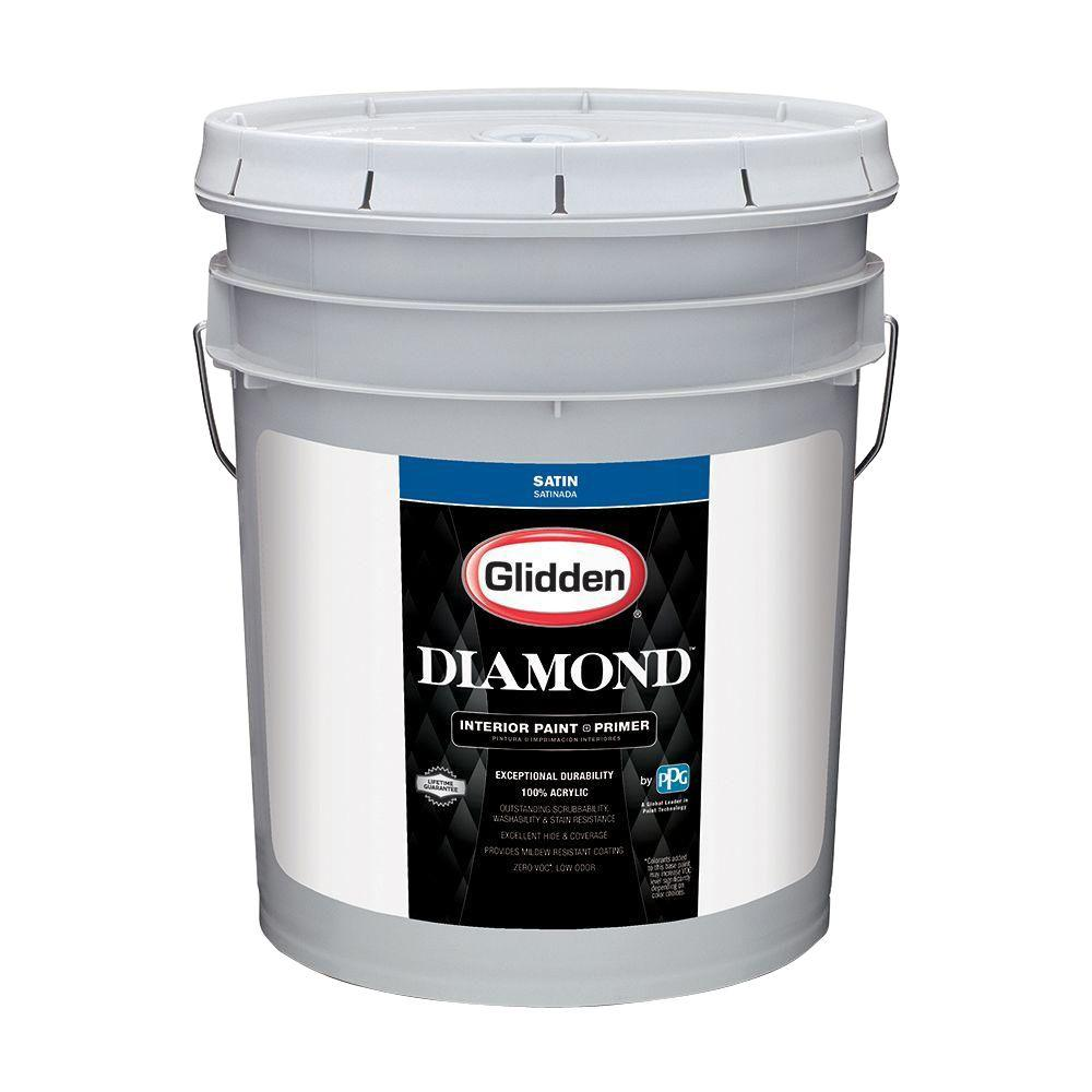 Ppg Diamond 5 Gal Pure White Satin Interior Paint And Primer Gld 7311 05 The Home Depot