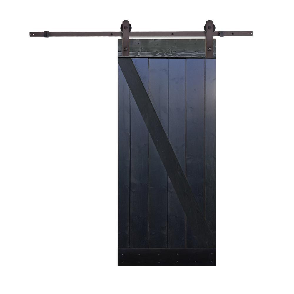 CALHOME 36 in. x 84 in. Z-Bar Choco Black Wood Sliding Barn Door with Sliding Door Hardware Kit
