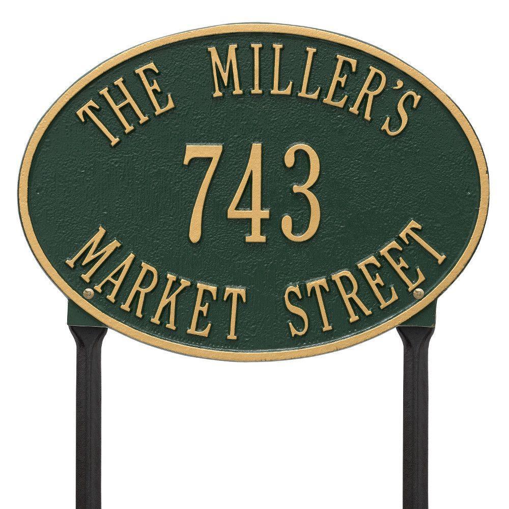 Hawthorne Standard Oval Green/Gold Lawn 3-Line Address Plaque