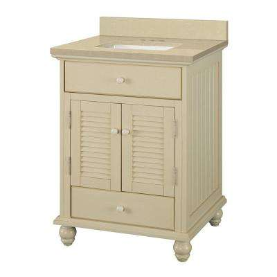 Cottage 25 in. W x 22 in. D Vanity in Antique White with Engineered Marble Vanity Top in Crema Limestone with Basin