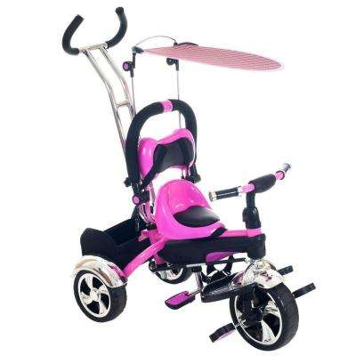 Pink Convertible Stroller Tricycle
