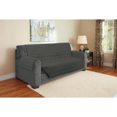 Gray Suede Relaxed Fit Sofa Furniture Protector (1-Piece)