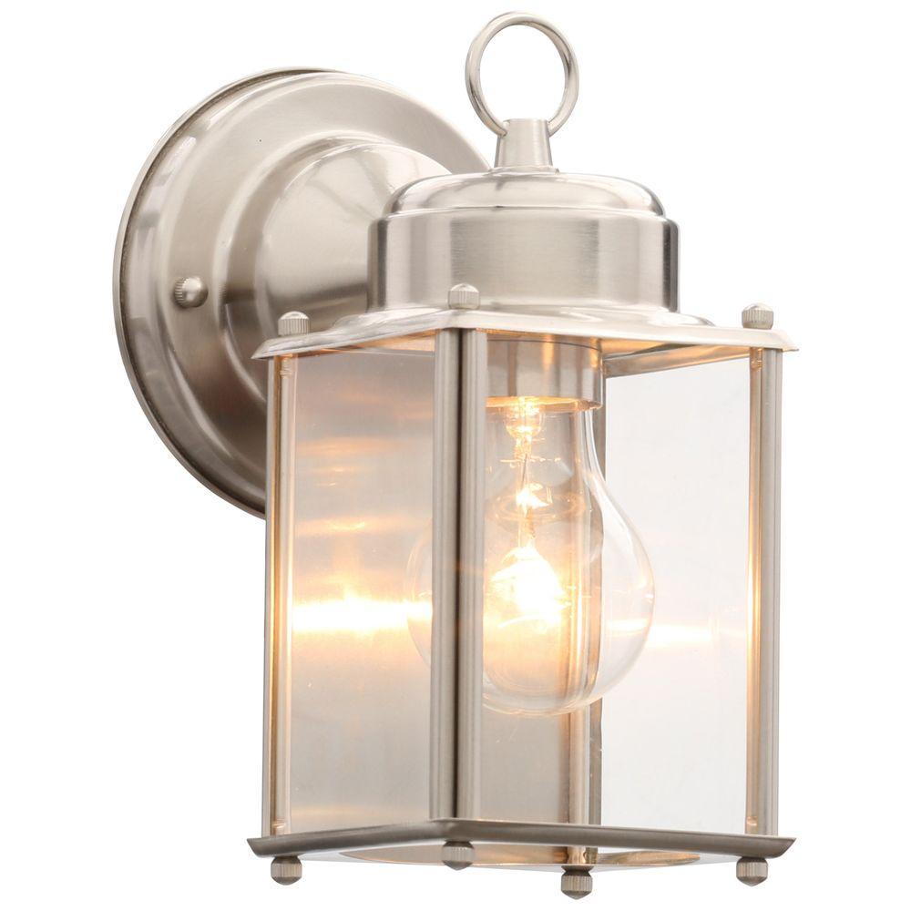 Brushed nickel outdoor wall lantern