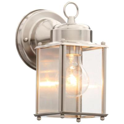 Brushed Nickel 8 in. Outdoor Wall Lantern Sconce