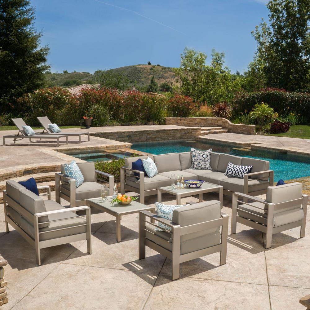 noble house cape coral khaki 10 piece aluminum outdoor sectional set with khaki cushions 298172. Black Bedroom Furniture Sets. Home Design Ideas