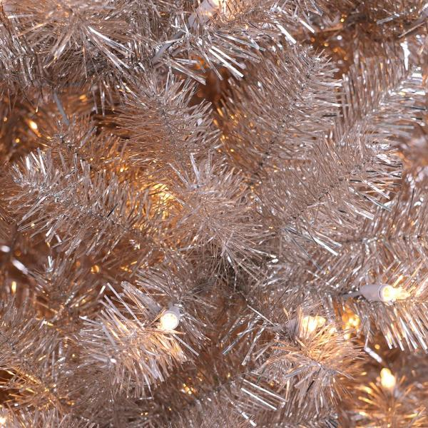 Puleo International 6 5 Ft Pre Lit Rose Gold Tinsel Artificial Christmas Tree With 400 Ul Listed Lights 253t961365c4r The Home Depot