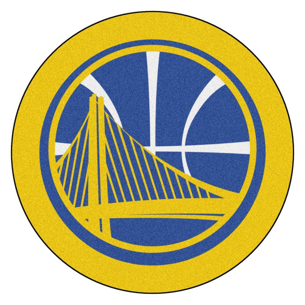 FANMATS NBA Golden State Warriors Gold 2 ft. x 2 ft. Round ...