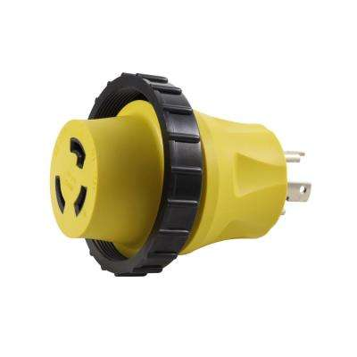 AC Connectors RV/Marine Adapter 30 Amp 3-Prong Locking Plug to 30 Amp RV/Marine L5-30R Detachable Inlet