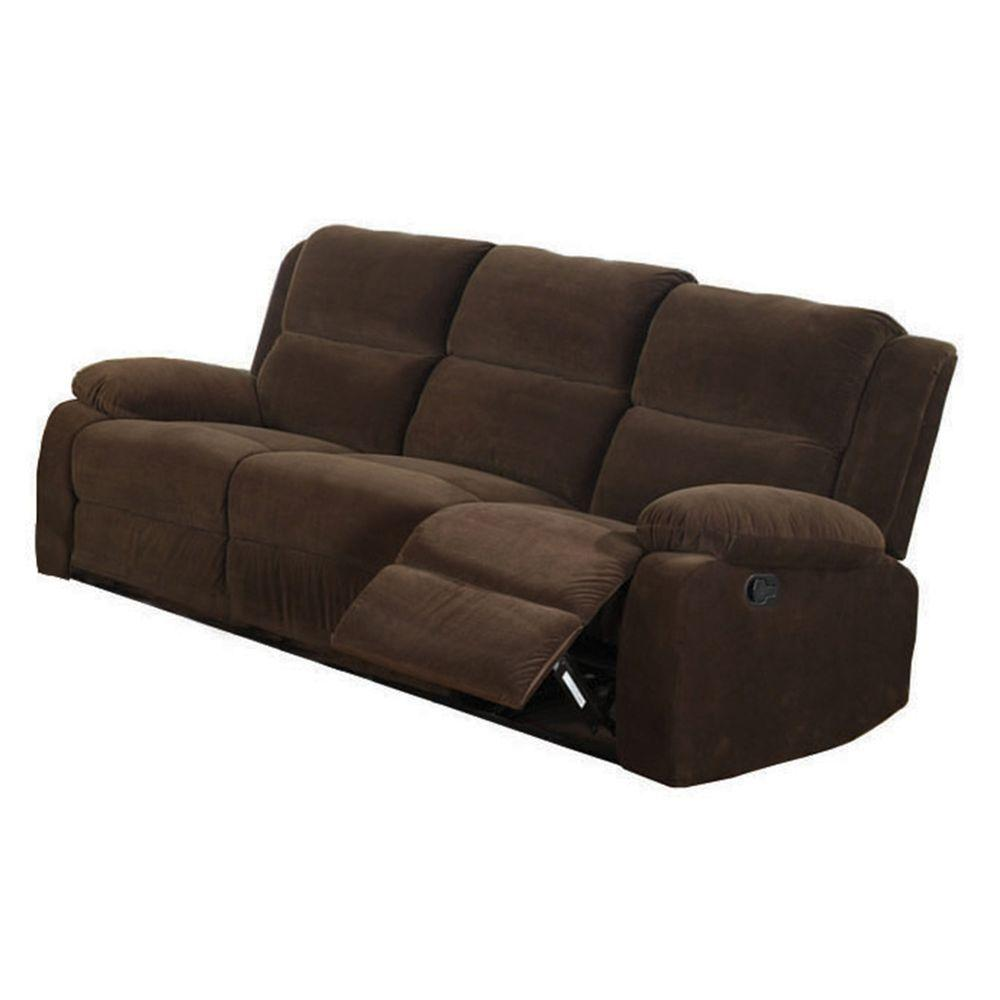 Furniture of america haven dark brown flannelette sofa for Furniture of america