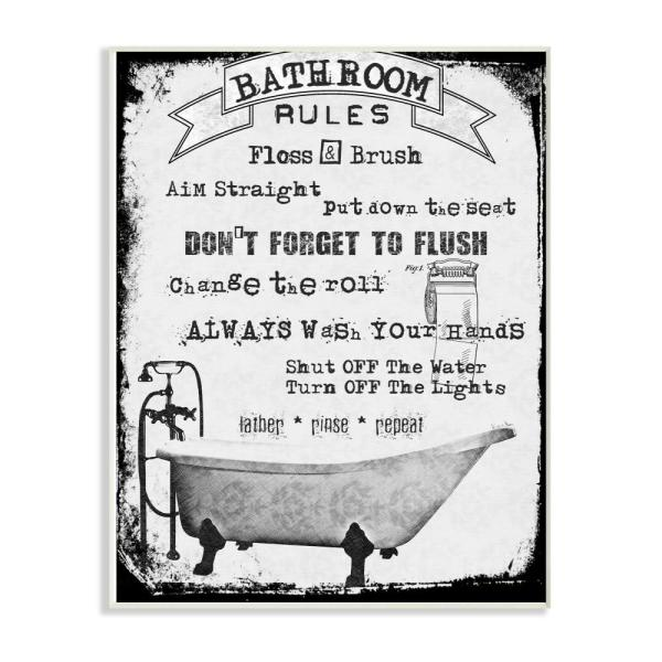 Brilliant 12 In X 18 In Distressed Bathroom Rules Typography With Claw Foot Tub Wall Plaque Art By Michel Keck Download Free Architecture Designs Scobabritishbridgeorg