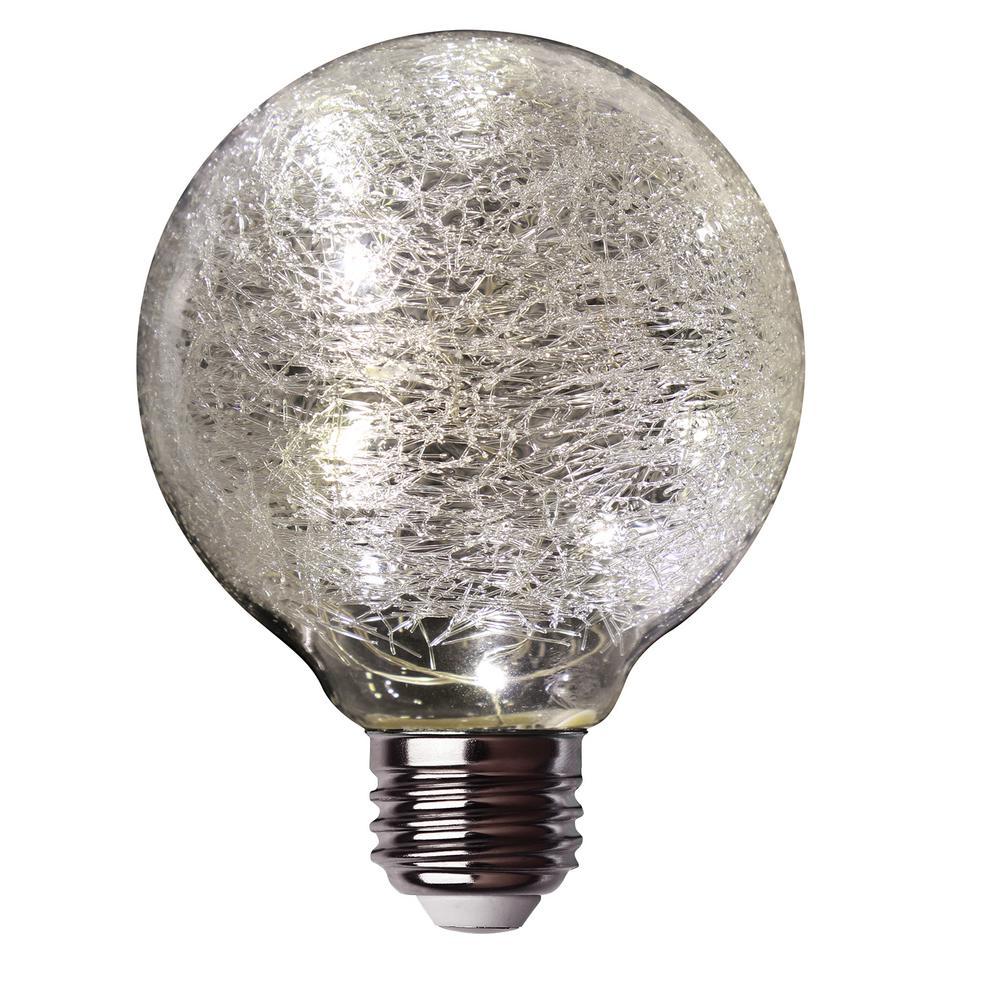 11-Watt Equivalent Soft White G25 Globe Fairy Light Crackle Glass LED Light Bulb
