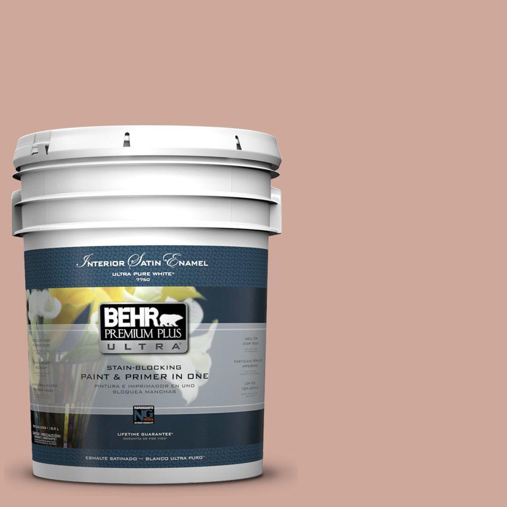 BEHR Premium Plus Ultra 5-gal. #PPU2-8 Pink Ginger Satin Enamel Interior Paint