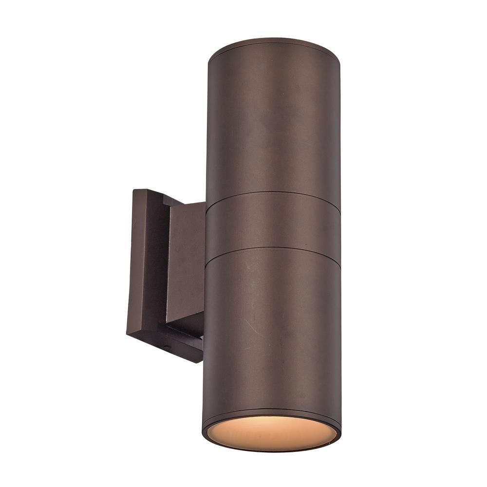 Compact 20-Watt Bronze Integrated LED Outdoor Wall Lantern Sconce
