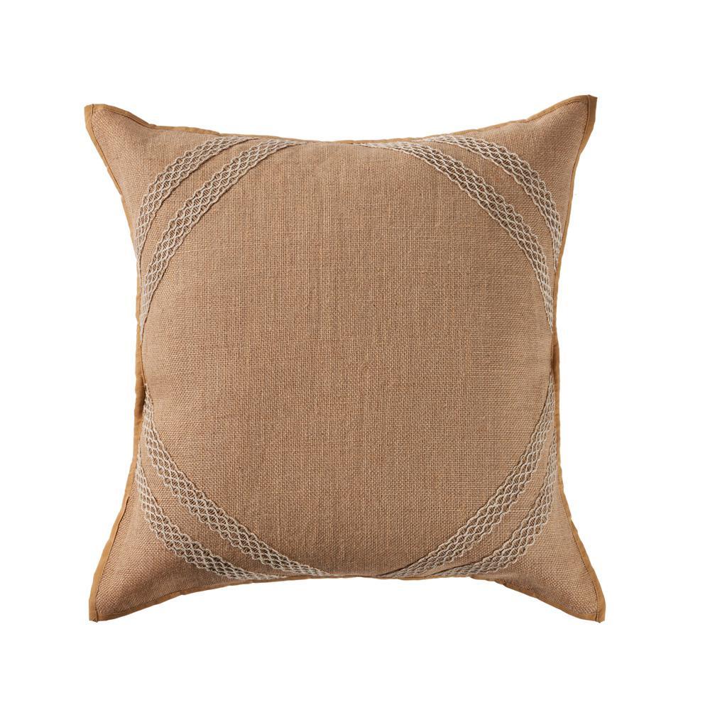 Lattice Frame Peach 20 in. x 20 in. Decorative Throw Pillow