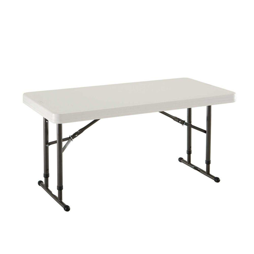 Almond Adjustable Height Commercial Folding Table