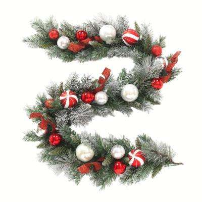 6 ft. Flocked Pine Garland with Red and White Balls