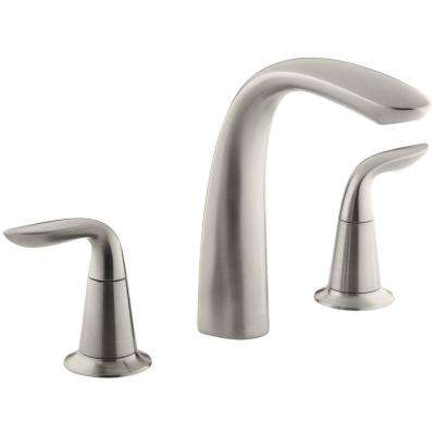 Refinia 2-Handle Deck-Mount Bath Faucet Trim Kit in Vibrant Brushed Nickel (Valve Not Included)