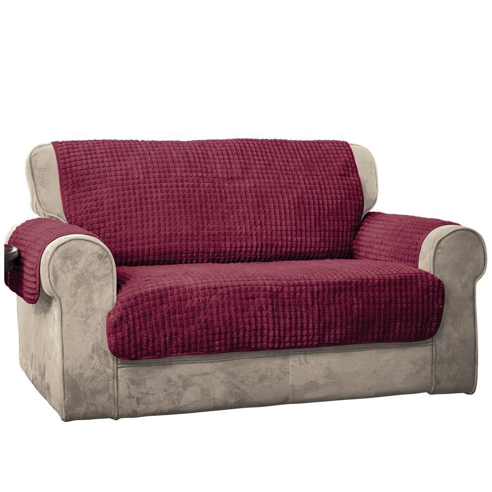 burgundy puff sofa furniture protector-9050sofaburg - the home depot