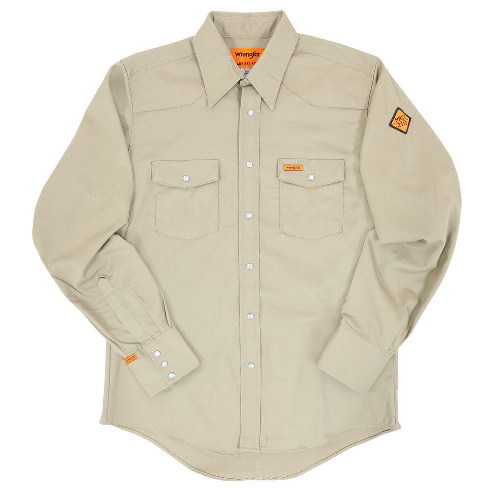 Men's Small Khaki Flame Resistant Basic Work Shirt