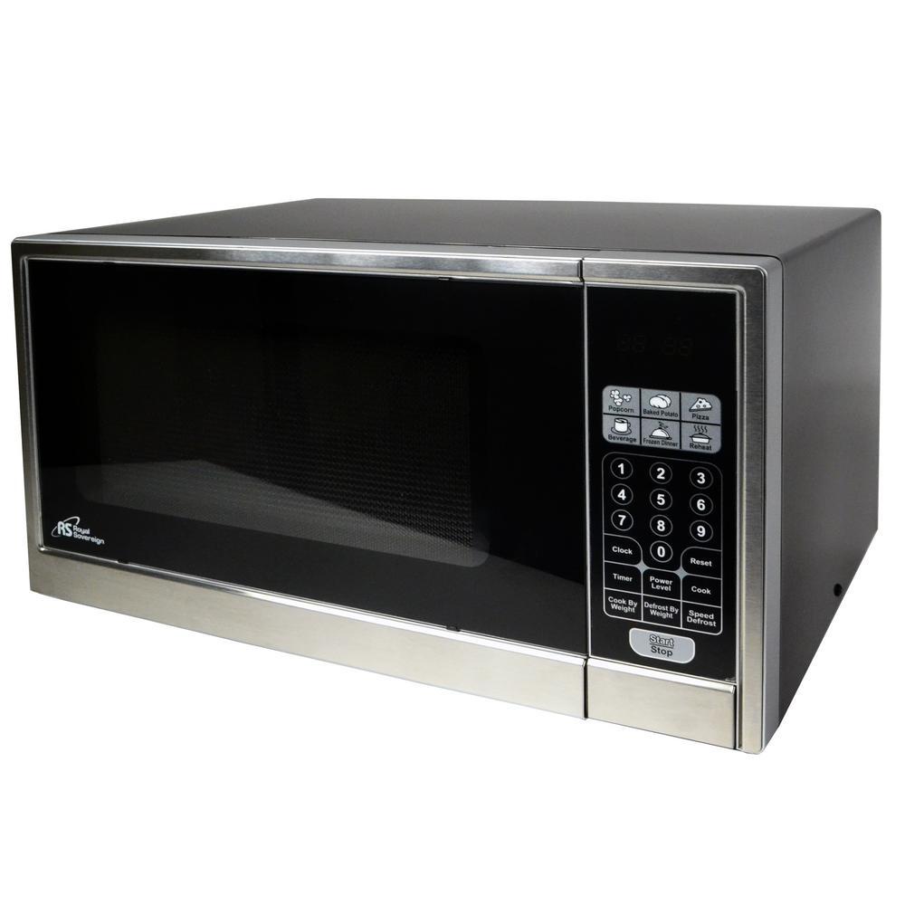 1.1 cu. ft. Countertop Microwave in Black with Stainless Steel Door
