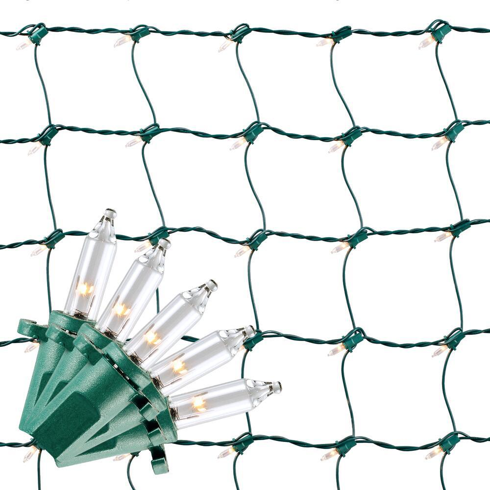 Home Accents Holiday 48 in. x 72 in. 150-Light Clear Net Christmas Lights