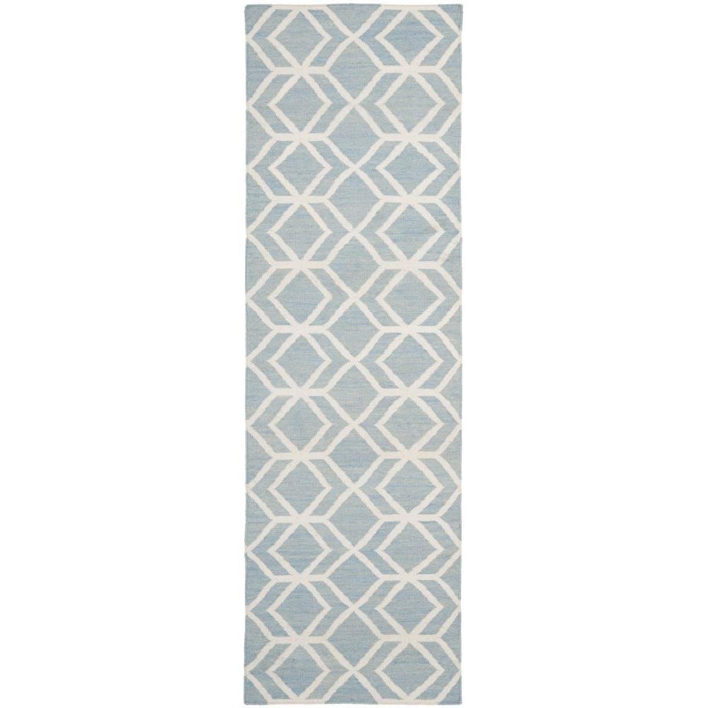 Safavieh Dhurries Blue/Ivory 2 ft. 6 in. x 12 ft. Runner