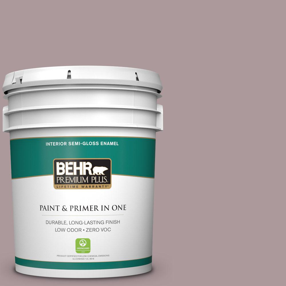 BEHR Premium Plus 5 gal. #PMD-53 Antique Mauve Semi-Gloss Enamel Zero VOC Interior Paint and Primer in One