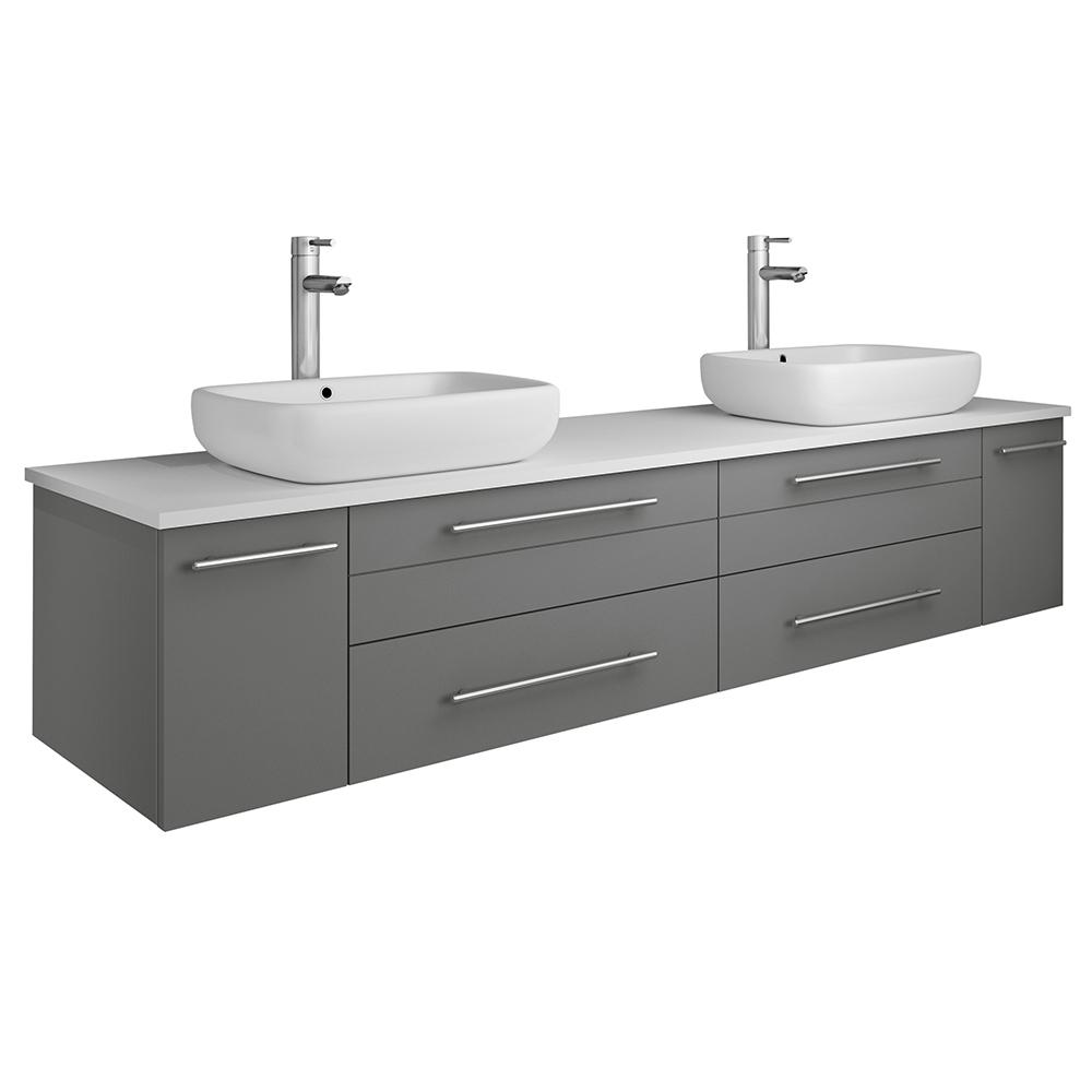 Fresca Lucera 72 in. W Wall Hung Bath Vanity in Gray with Quartz Stone Vanity Top in White with White Basins