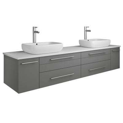 Lucera 72 in. W Wall Hung Bath Vanity in Gray with Quartz Stone Vanity Top in White with White Basins
