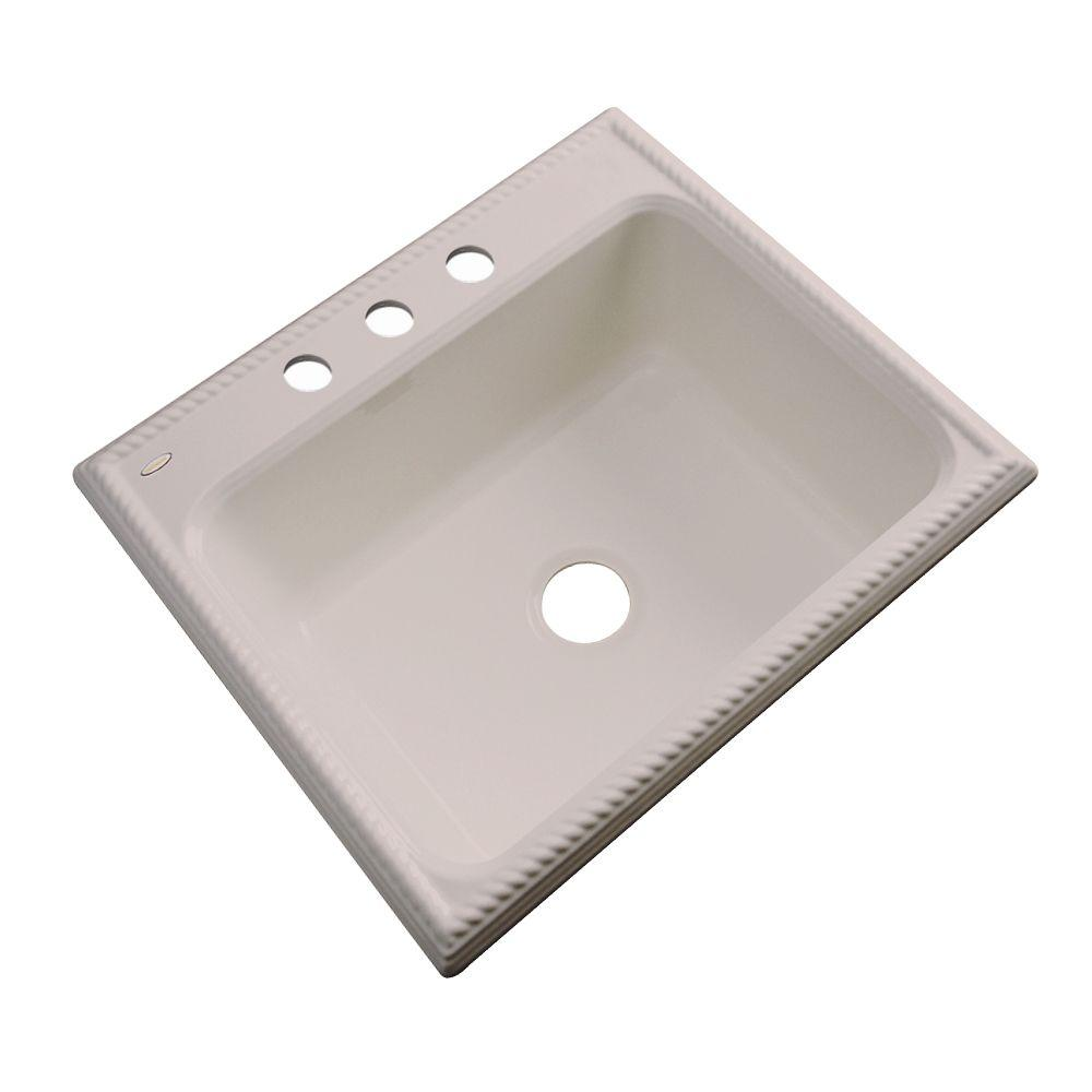 Thermocast Wentworth Drop-In Acrylic 25 in. 3-Hole Single Basin Kitchen Sink in Fawn Beige