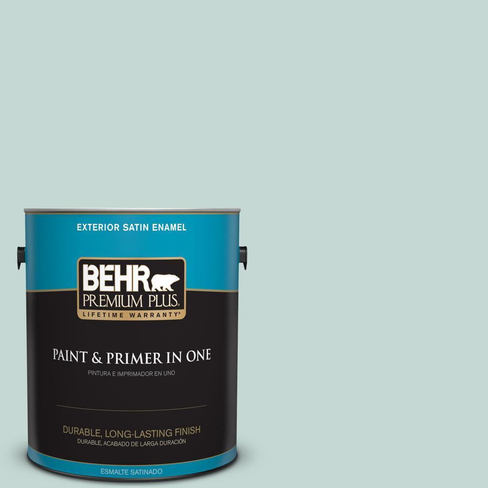 1-gal. #480E-2 Tide Pools Satin Enamel Exterior Paint
