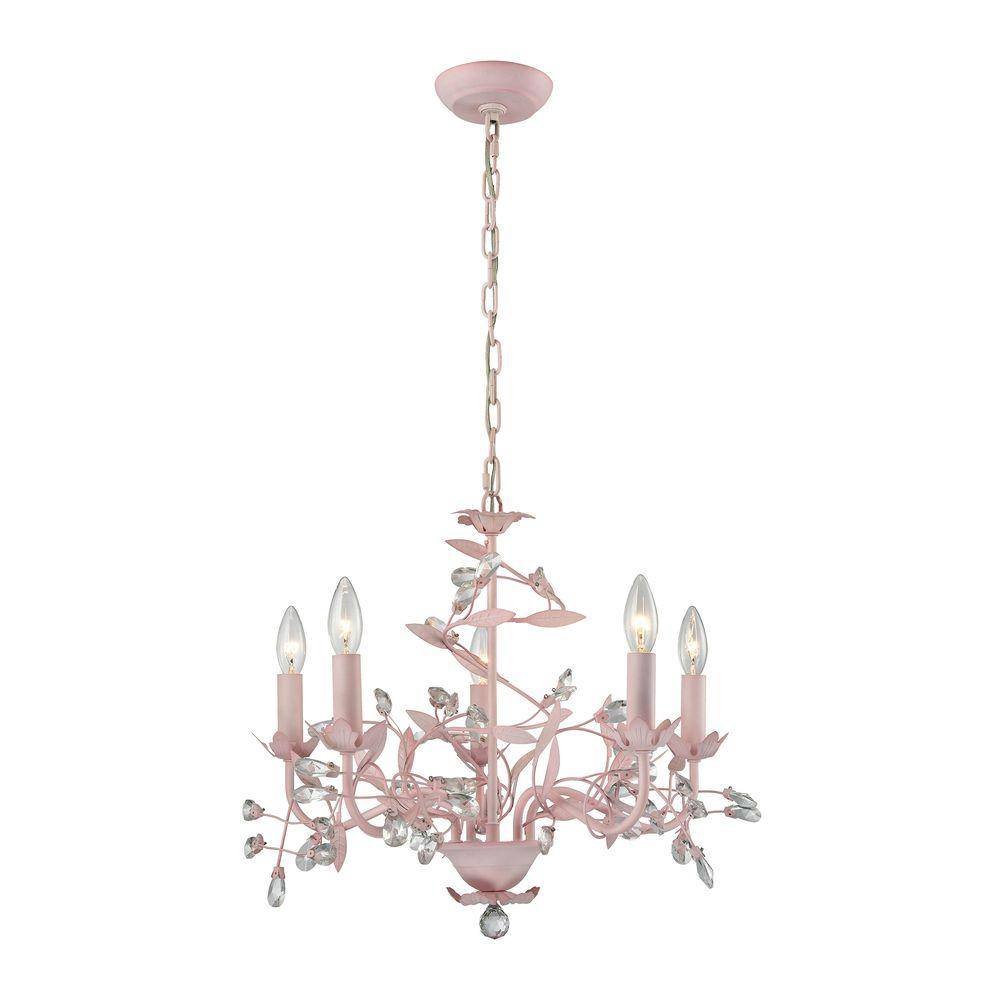 Titan lighting circeo 5 light light pink chandelier tn 75668 the titan lighting circeo 5 light light pink chandelier mozeypictures Images