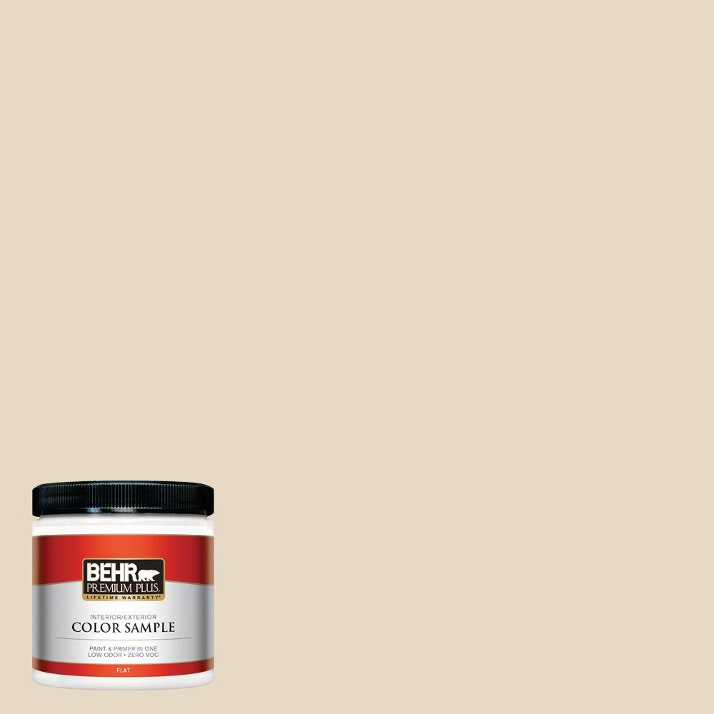 BEHR Premium Plus 8 oz. #23 Antique White Flat Interior/Exterior Paint and Primer in One Sample