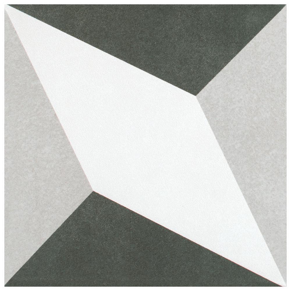 Twenties Diamond Encaustic 7-3/4 in. x 7-3/4 in. Ceramic Floor and Wall Tile