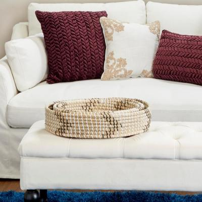 White Seagrass and Polyethylene Decorative Wicker Trays with Black Accents (Set of 3)