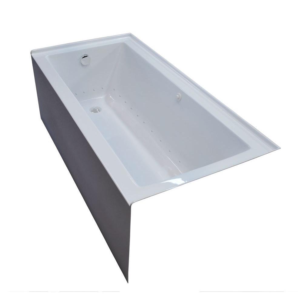 Amber 5 ft. Acrylic Rectangular Drop-in Air Bathtub in White