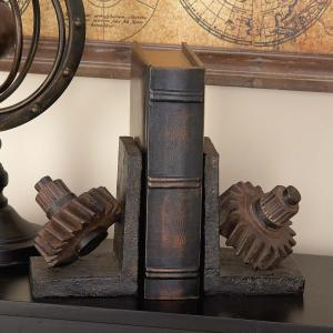 7 inch x 5 inch Polystone Machinery Gears Bookends by