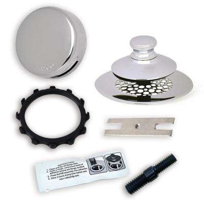 2.875 in. SimpliQuick Push Pull Bathtub Stopper, Grid Strainer, Innovator Overflow, Silicone and Composite Pin - Chrome