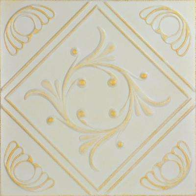 Diamond Wreath 1.6 ft. x 1.6 ft. Foam Glue-up Ceiling Tile in White Washed Gold