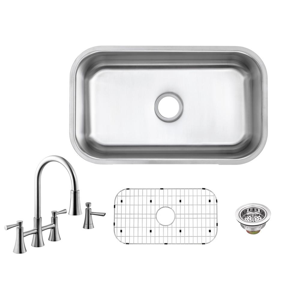 All-in-One Undermount 16-Gauge Stainless Steel 30 in. Single Bowl Kitchen Sink