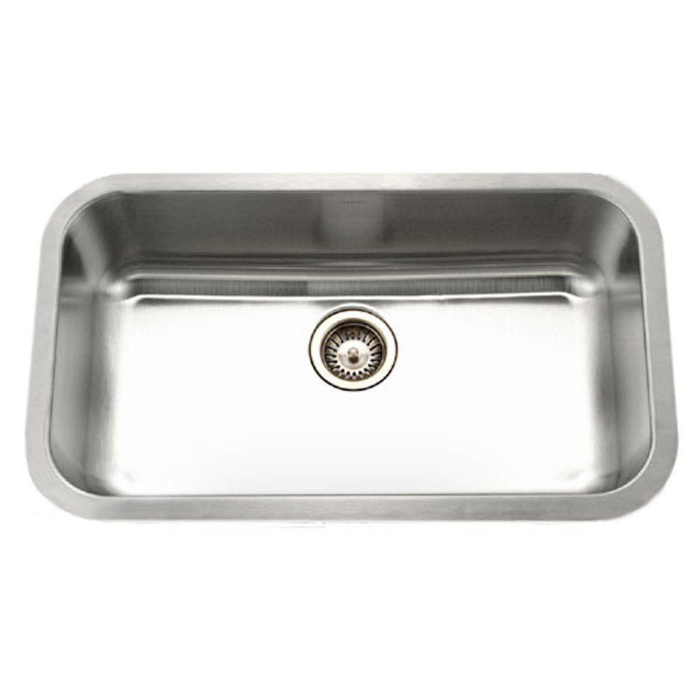 Houzer Eston Series Undermount Stainless Steel 32 In. Single Basin Kitchen  Sink In Satin STL 3600 1   The Home Depot