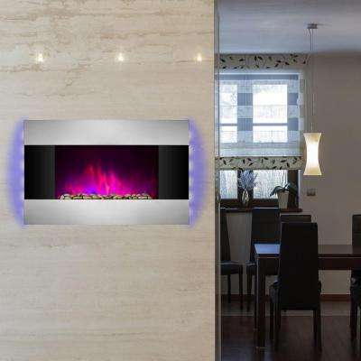 36 in. Wall Mount Electric Fireplace Heater in Stainless Steel with Tempered Glass, Pebbles, Logs and Remote Control