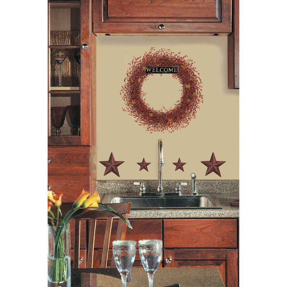 null 18 in. x 20 in. Country Wreath 7-Piece Peel and Stick Giant Wall Decal