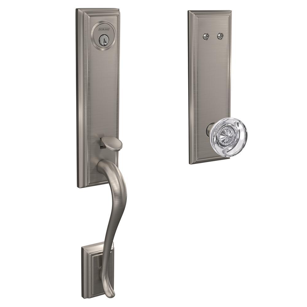 Custom Addison Satin Nickel 3/4 Trim Dummy Door Handleset with Hobson Glass Door Knob