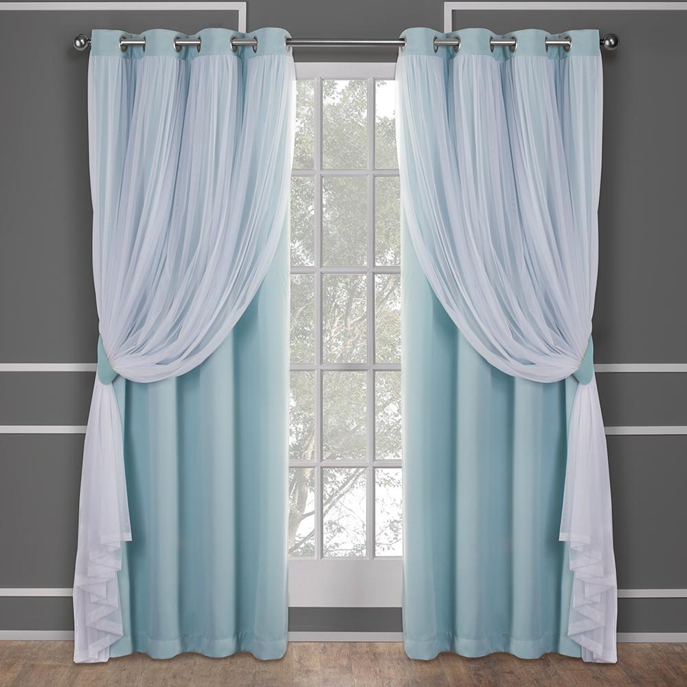 Catarina Aqua Layered Solid Blackout And Sheer Grommet Top Window Curtain