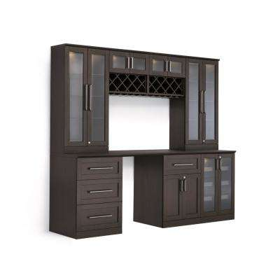 Home Bar 8-Piece Espresso Shaker Style Bar Cabinet